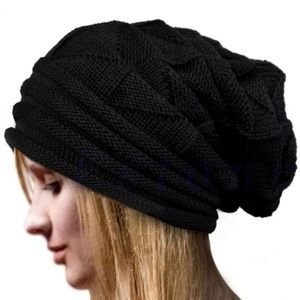 Black Unisex Slouch Knitted Beanie